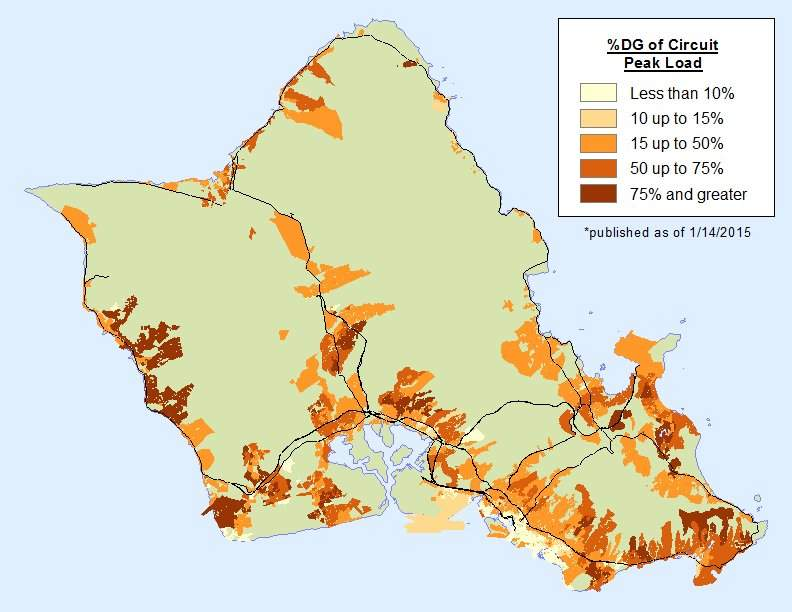 Map of distributed generation of electricity on Oahu