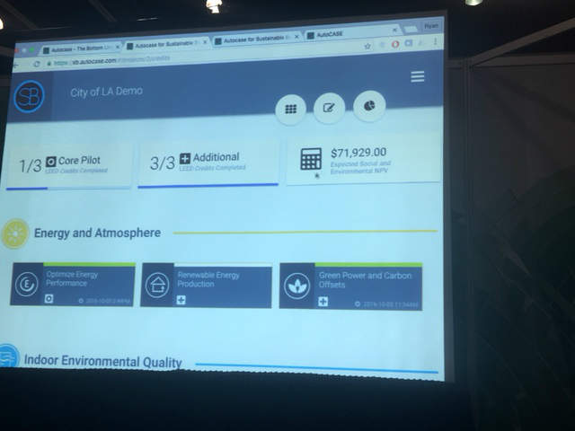 A demo of Autocase software shows a real-time ticker for the ROI of tweaking various factors in a building, in dollars and cents.