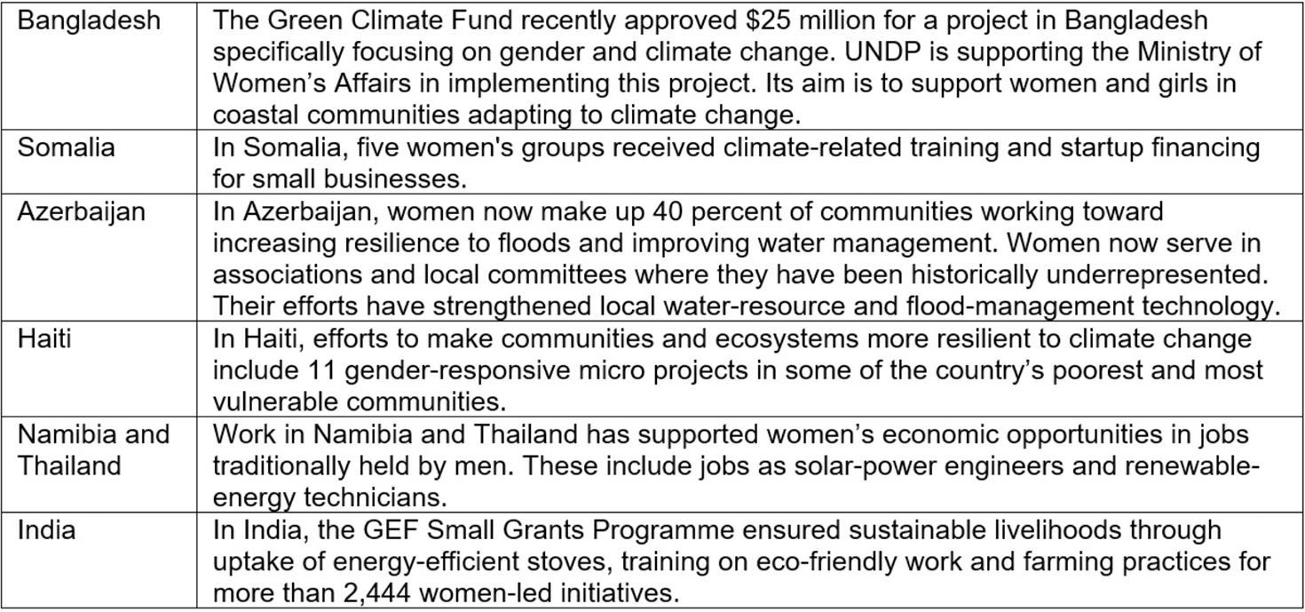 Climate Action fund gender in countries table