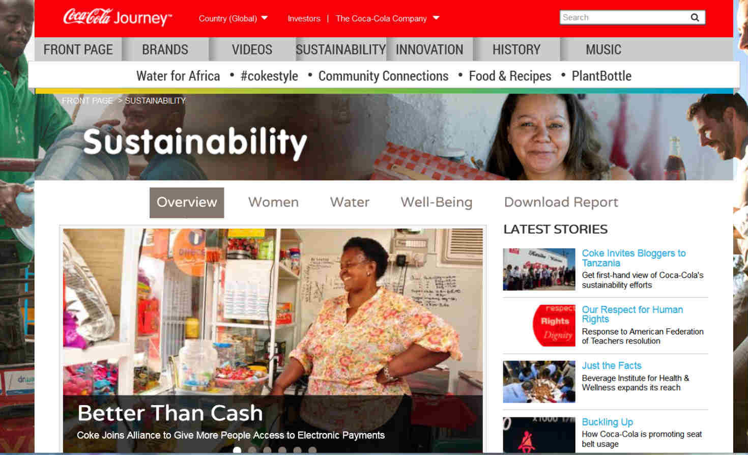 Coca-Cola sustainability blog screenshot