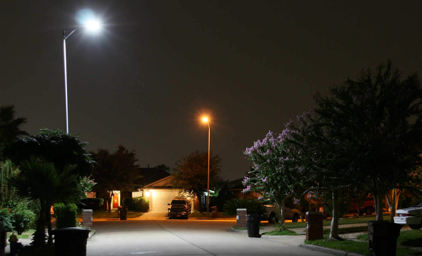LED and old streetlight in Houston