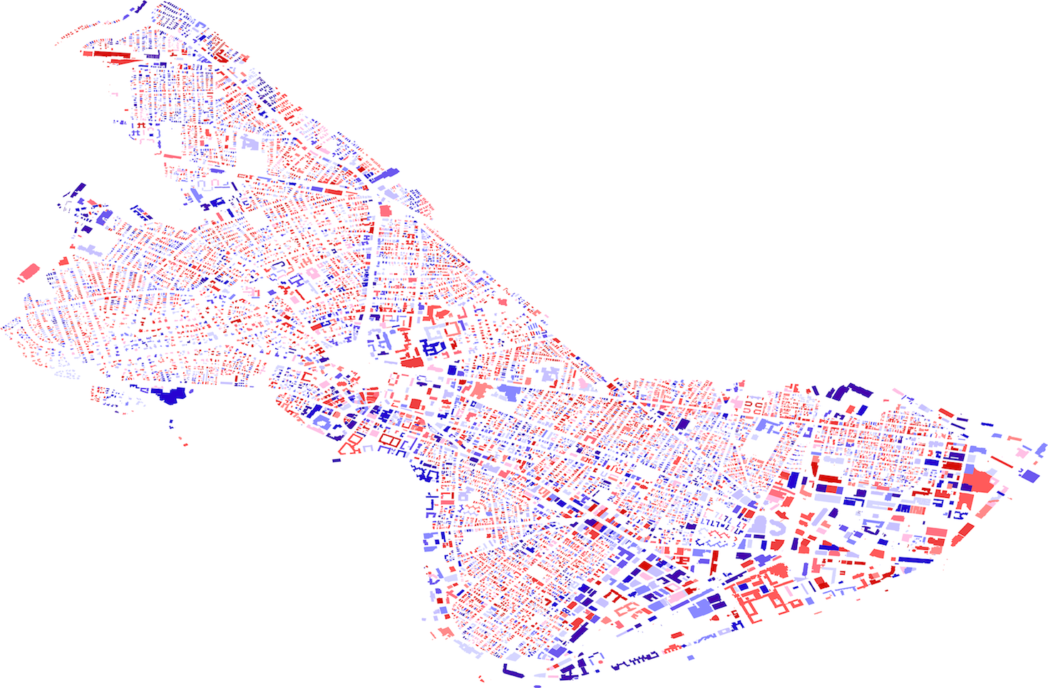 A map of Cambridge, MA, made through thermal-imaging of each building.