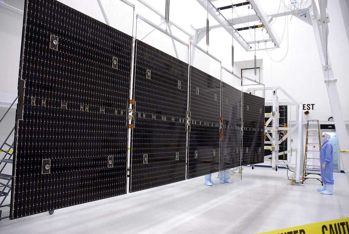 Gallium-arsenide solar array designed by NASA for the Dawn spacecraft.