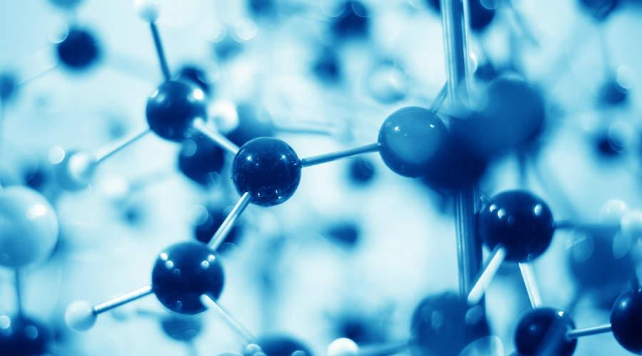 Closeup of molecule model