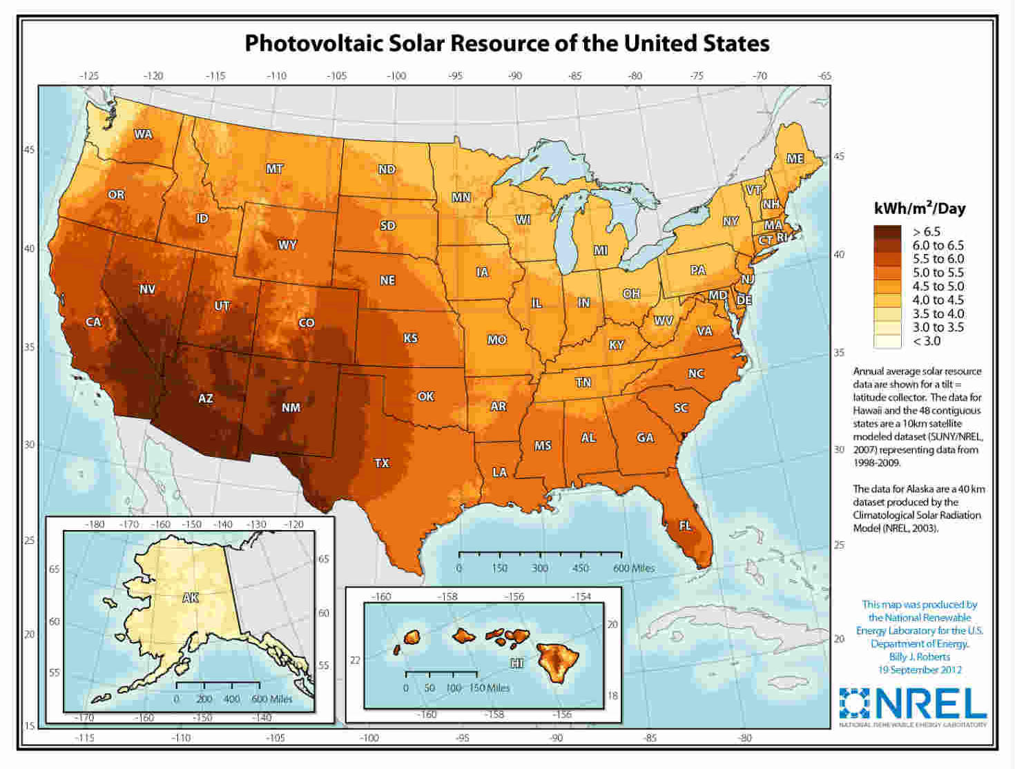NREL map of solar power production potential across the U.S.