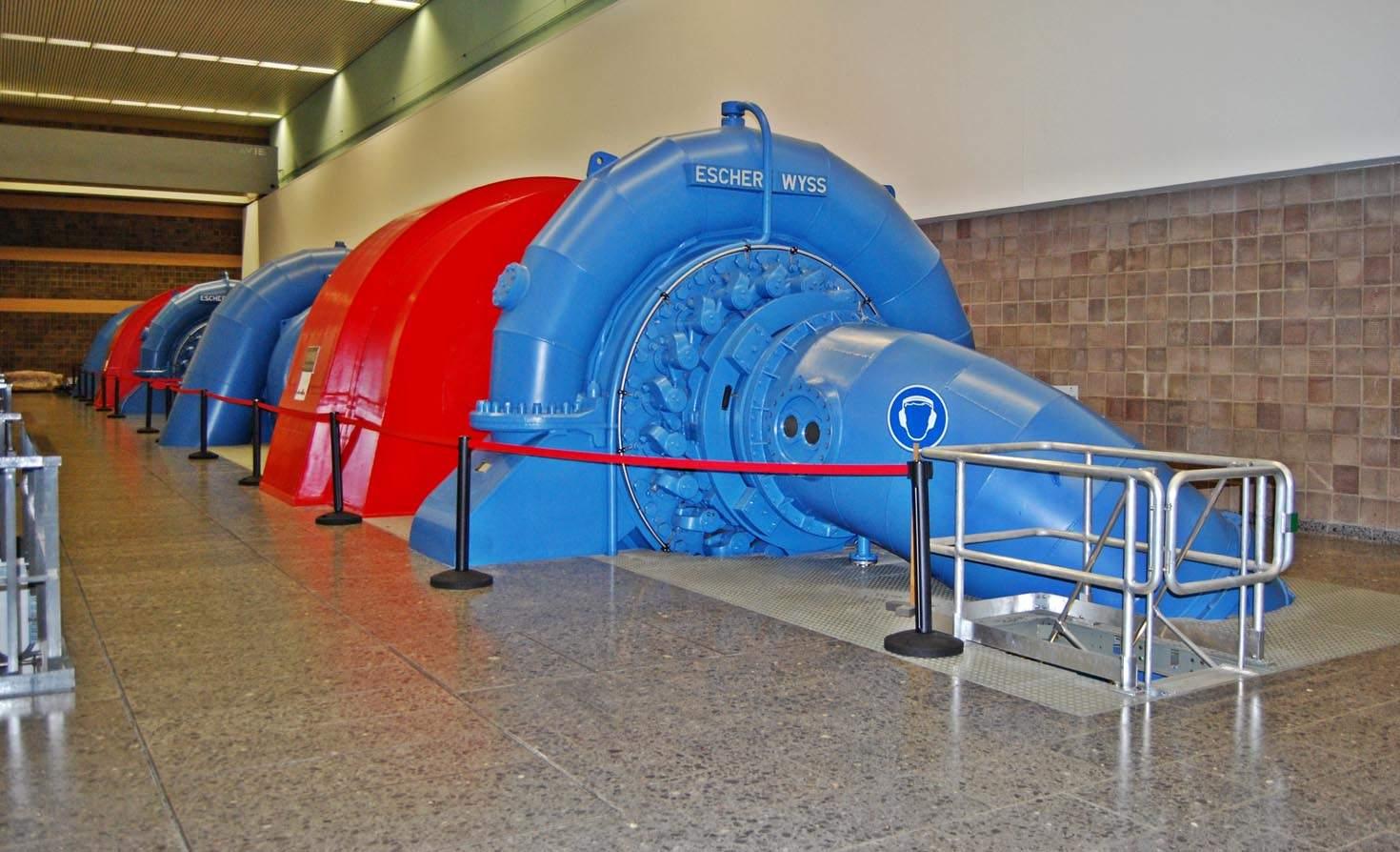 The turbine and pump hall of pumped storage hydro power station Glems near Metzingen, Baden-Württemberg.