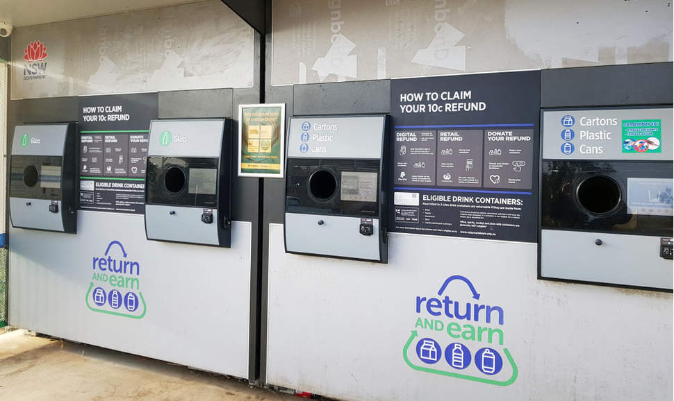 Return and Earn public return point for recycling of empty cans, bottles or carton drink containers