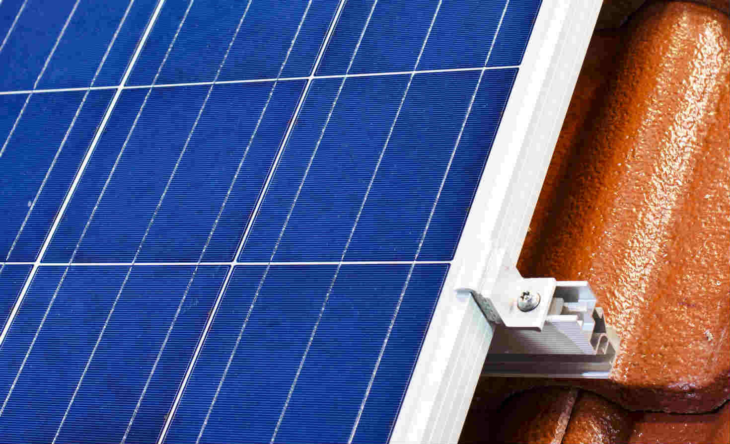 Closeup of rooftop solar array