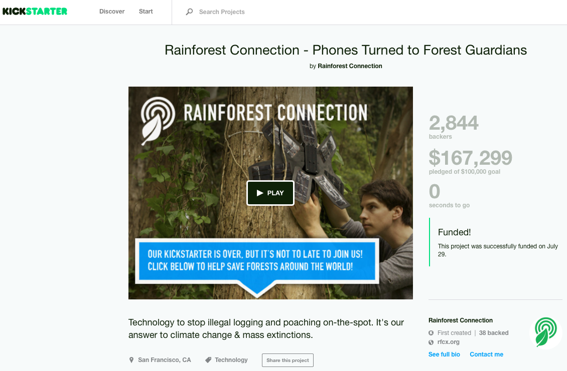 Rainforest Connection Kickstarter campaign.