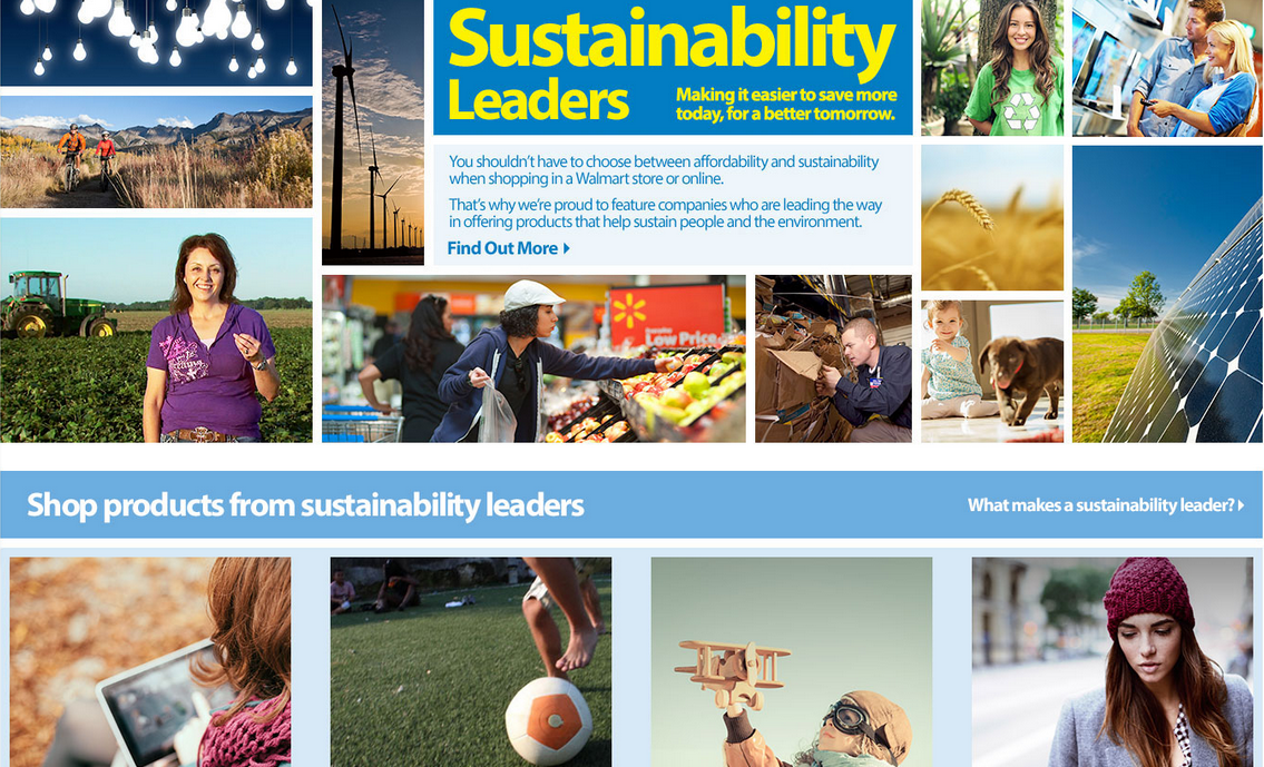 A screen shot from the new Walmart sustainability leaders store.