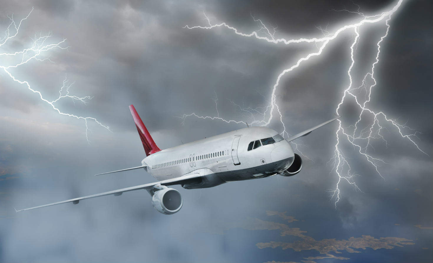 Photo of passenger plane during a storm