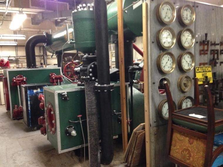 Beneath the Palace Hotel, century-old equipment for a power station that once fueled a Hearst newspaper plant