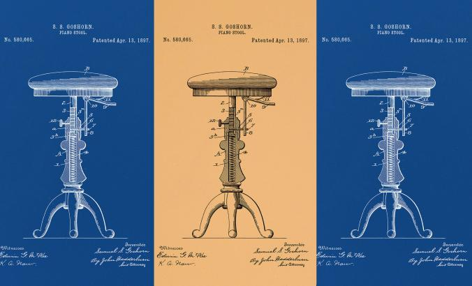 Blueprint of a 3-legged stool