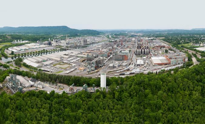 An aerial view of Eastman's Kingsport, Tennessee headquarters facility. Courtesy, Eastman Chemical