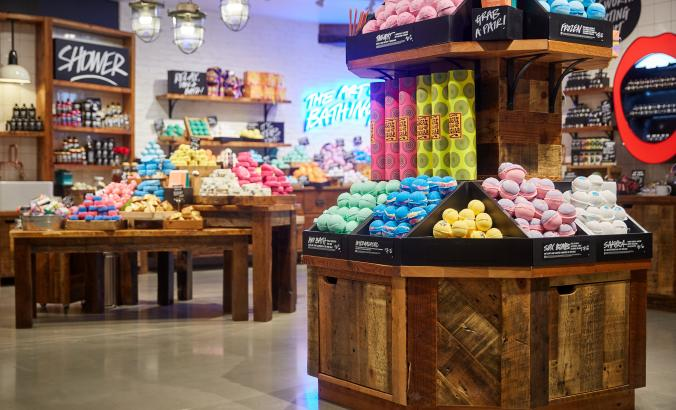 Inside of a Lush store, which sells cosmetics