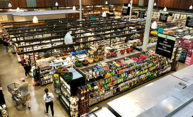 Aerial view of inside a grocery store