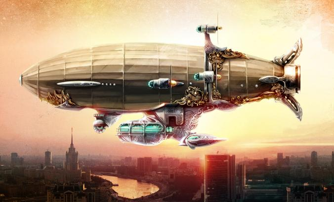 Airship painted in steampunk style in the sky over a city