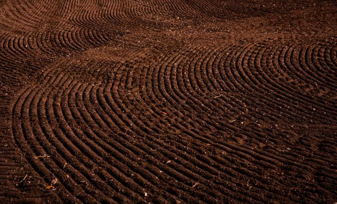 Rich soil on an agricultural field