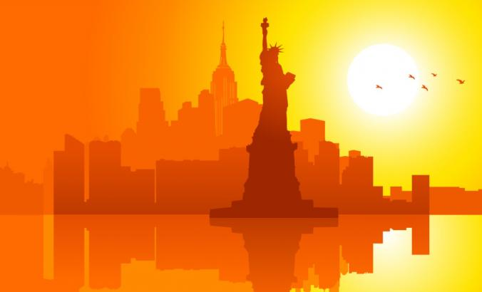 Lady Liberty illustration at sunset