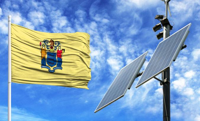 New Jersey flag with solar panel