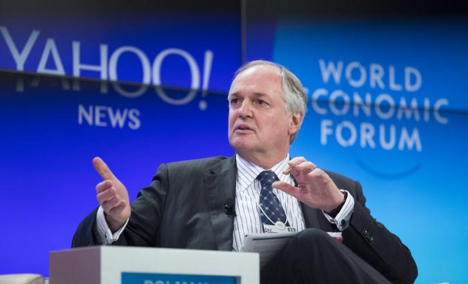 Paul Polman, former CEO of Unilever, speaks during the World Economic Forum