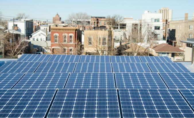 Rooftop solar panels in a Chicago neighborhood.