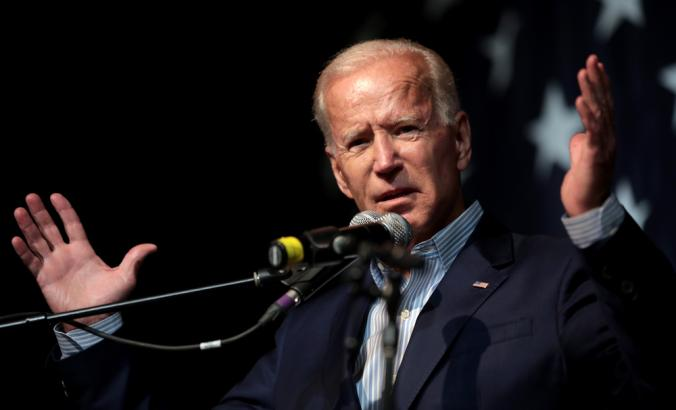 Joe Biden speaking with attendees at the 2019 Iowa Democratic Wing Ding