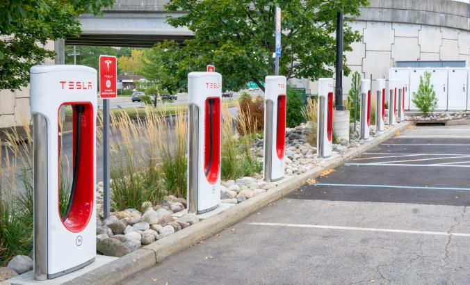 Tesla supercharger in West Nyack, New York.