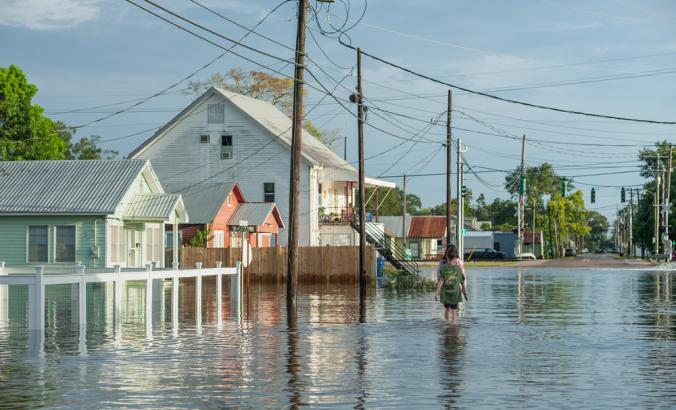 Canal street in Delcambre, during Hurricane Laura. Two people can be seen walking along the flooded roads in town as the storm surge subsides.