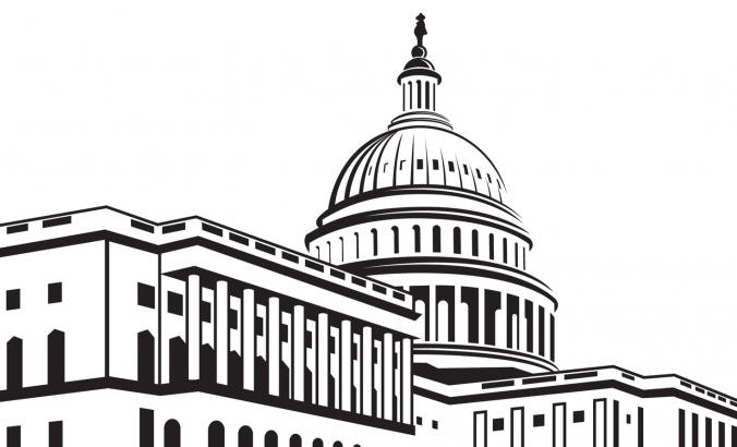 Black and white outline of the U.S. Capitol.