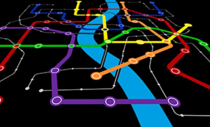 Illustration of an urban transit map.