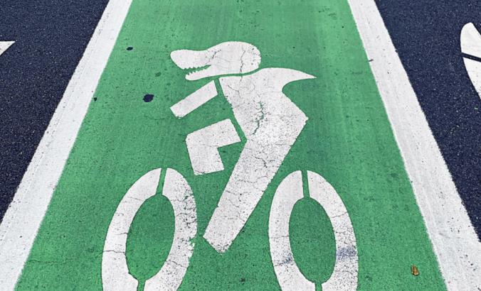 A shark appears in a San Jose bike lane, a nod to the local ice hockey team.