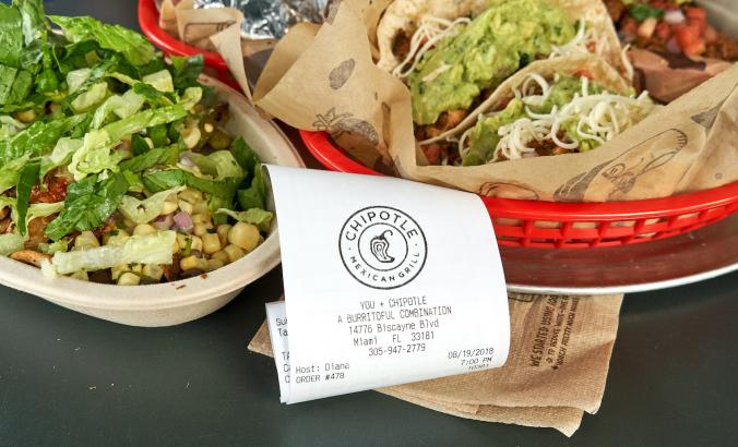 Chipotle items and receipt