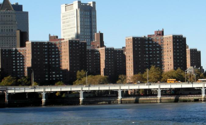 The Governor Alfred E. Smith Public Housing houses on the East River, New York City, built 1950-53.