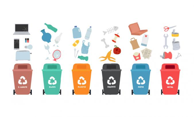 Illustration shows different types of recycling