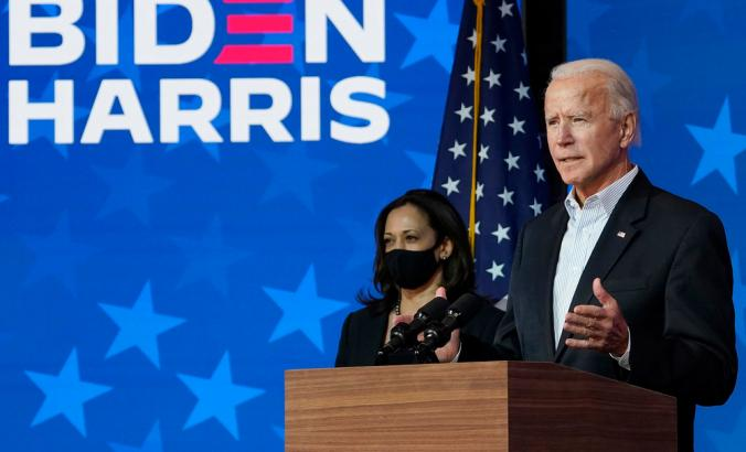 President-elect Joe Biden and vice president-elect Kamala Harris on stage at the Queen Theater in Wilmington, Delaware during the 2020 election campaign.