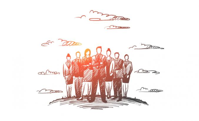 Hand drawn group of business people with leader at front