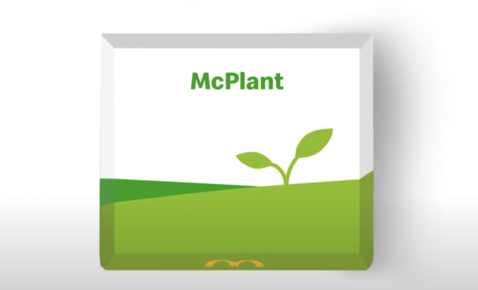 Food packaging box with an illustration of a plant and words that read, 'McPlant'