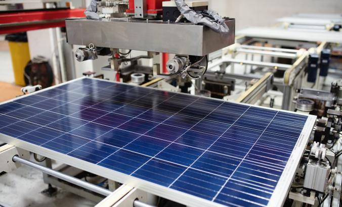 solar panel manufacturing in a factory