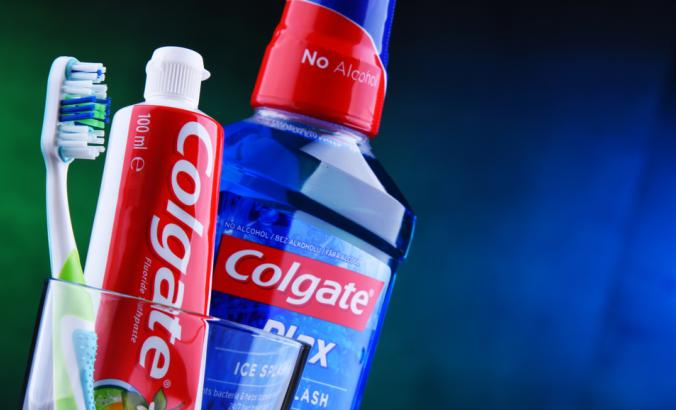 Colgate toothpaste, a brand of oral hygiene products manufactured by American consumer-goods company Colgate-Palmolive
