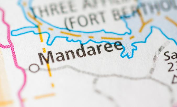 Mandaree, North Dakota, on the map.