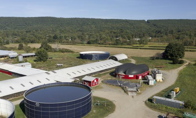 Overhead shot of farm with biodigester