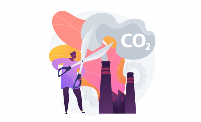 An illustration that shows a person cutting carbon dioxide to represent a reduction, environmental damage, atmosphere protection.