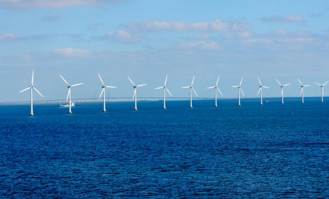 Offshore wind farm in the Baltic Sea off Copenhagen, Denmark