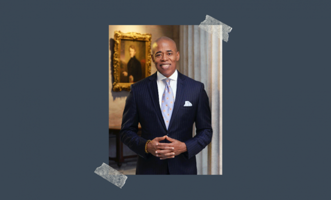 Photo of Eric Adams, Borough President of Brooklyn, New York City, on dark blue-ish gray background