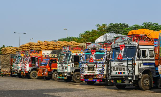 Truck trailers in Agra, India.