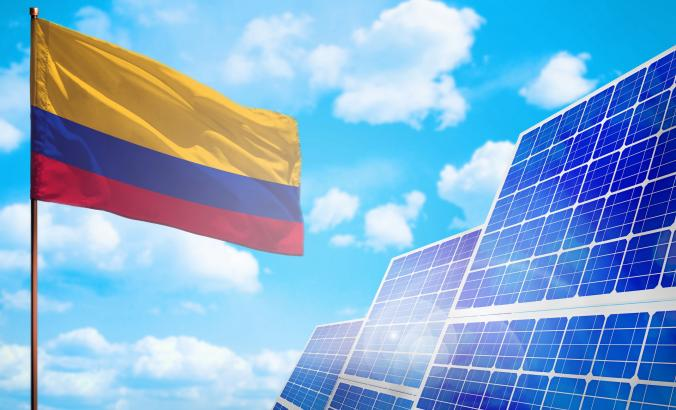 Colombia flag with solar panels
