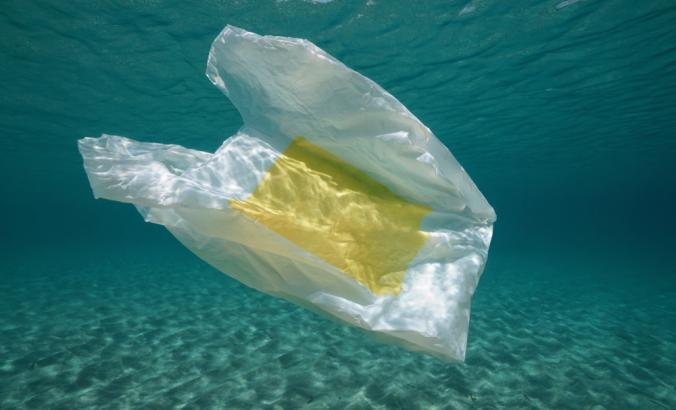 A plastic bag below water surface in the Mediterranean Sea near Almeria, Andalusia, Spain