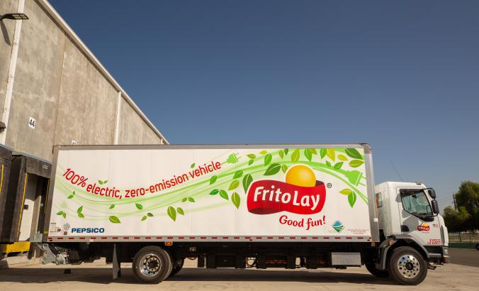 Frito-Lay Modesto plant, electric Peterbilt box truck