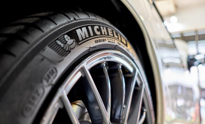 Close up of a Michelin tire on a car